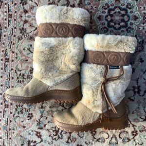Oscar sport tribal calf hair and leather boots